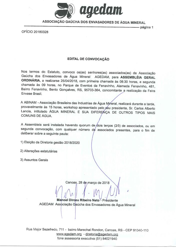 edital convocação assembleia geral ordinária AGEDAM